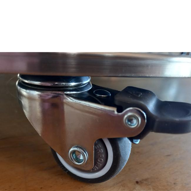 TV-stativ i borstat aluminium med hjul