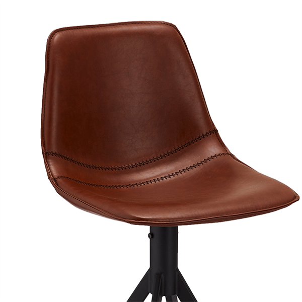 Barstol i cognac PU læder - Sort stel