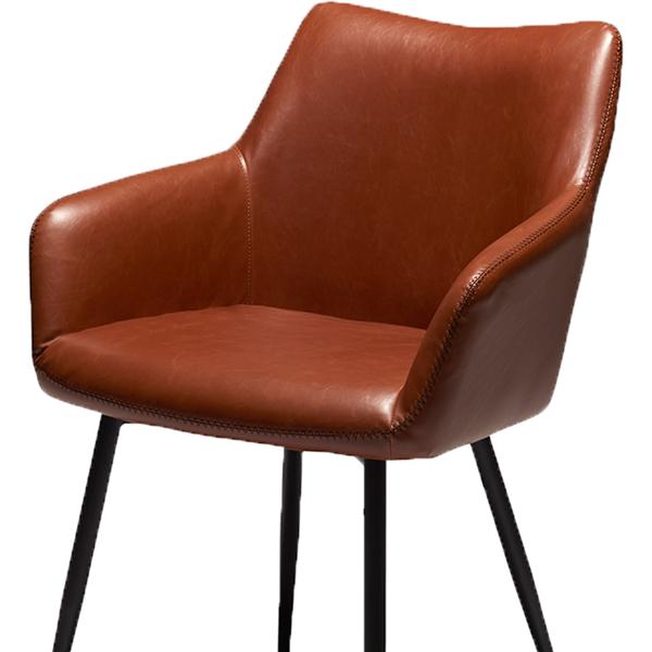 Spisebordsstol - Cognac farvet PU læder