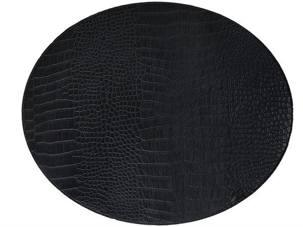 Dækkeservietter - Oval - Sort læder