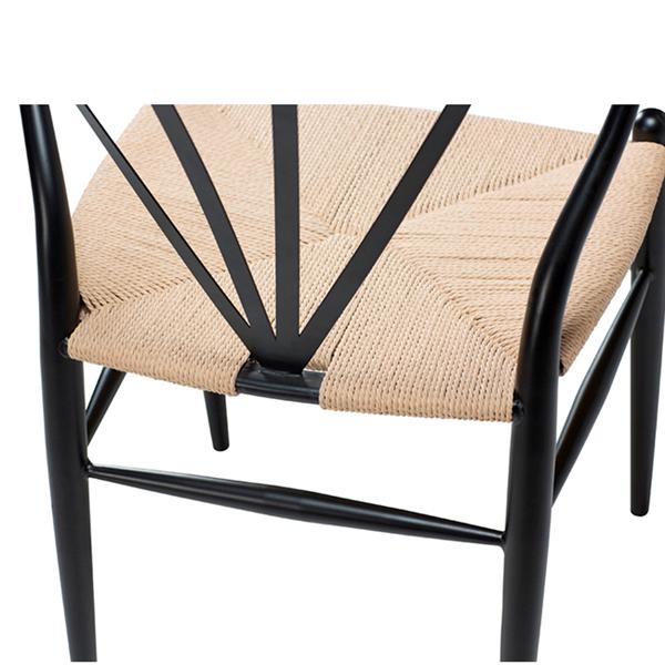 Spisebordsstol - Sort med naturflet